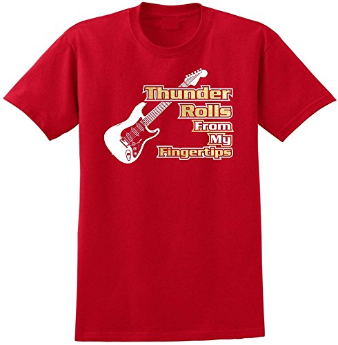 Electric Guitar Thunder Rolls - Red Rot T Shirt Größe 87cm 36in Small MusicaliTee (Prs Picks)