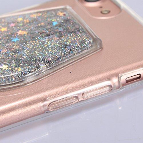 """iPhone 7 Handyhülle, iPhone 7 Liquid TPU Case, CLTPY Kreativ 3D Fließen Flüssig Bling Schwimmend Treibsand Herz, Glanz Shiny Kristallklar Schale Etui für 4.7"""" Apple iPhone 7 + 1 x Stift - Dunkelblau Silberner Stern"""