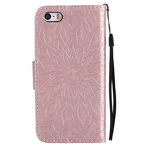 Custodia iPhone 5 / 5S / SE, cmdkd Wallet Custodia Bumper per iPhone 5 / 5S / SE. (Rosso) Rose Oro