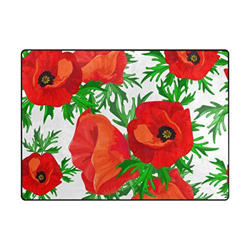 Mohn Roten Teppich (WowPrint Rot Mohn Blume Druck Teppich Groß Weich Teppich Wohnzimmer Schlafzimmer Küche Home Kinderzimmer Decorator 160 x 121 cm)