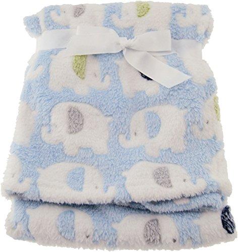 r Fleece-Decke Elefanten blau, hochwertig und sehr kuschelig, ideal als Tagesdecke, Kinderwagendecke oder Spieldecke geeignet,75 x 90cm ()