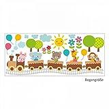 nikima 019 Wandtattoo Zug mit Tieren Hase Bär Elefant Giraffe Affe Ballons - in 6 Größen - niedliche Kinderzimmer Sticker Babyzimmer Aufkleber süße Wanddeko Wandbild Junge Mädchen Größe 750 x 320 mm