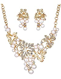 Shining Diva Fashion Jewellery 18k Gold Plated Pearl Necklace Set With Fancy Party Wear Earrings For Women & Girls