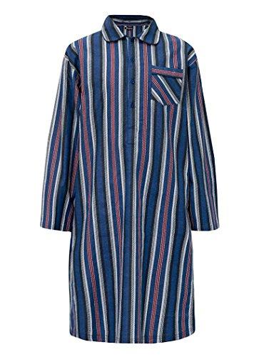 Herren Nachthemd Abendkleid Streifen Kariert 100% Baumwolle Gebürstet Winter Warm Wein Streifen