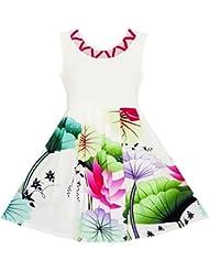 Sunny Fashion Robe Fille Fleur Fille Habiller Élégant Dessin Lotus Feuilles Étoile Partie 7-14 ans
