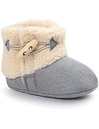 Butterme Bebé Zapatos de Felpa Cálidos para Bebés Botas de Nieve Botas de Cuna Blandas Botas para Niños de 0 a 18 Meses(11CM,Gris)