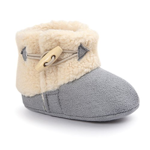 Butterme Winter Warm Baby Plüsch Schnee Stiefel Soft Sole Anti-Rutsch Prewalker Krippe Schuhe für Neugeborene Kinder Jungen Mädchen, Grau, Gr. 13cm(12-18months)