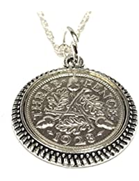 Round Pendant 1928 Threepence 3D 90th Birthday plus a Sterling Silver 18in Chain