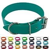 LENNIE BioThane Halsband, Edelstahl-Rollschnalle, 38 mm breit, Größe 45-55 cm, Petrol/Teal, Aufdruck möglich