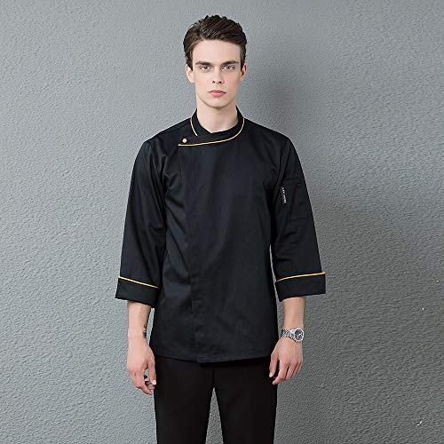 Großhandel Männer Restaurant Arbeitskleidung Langarm Mantel Single Button Küchenchef Uniform Hotel Kellner Catering Friseur Kleidung,Black,L - Küchenchef Mantel