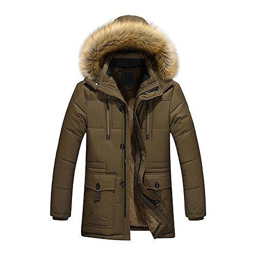 Yanhoo Herren Winter Daunenjacke Mit Pelzkragen Langarm Einfarbig Daunen Baumwolle Liner Parka Mantel Jacke Windjacke Outwear Wintermantel