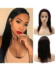 dbb9754fdbc3 Perruque Femme Vrai Cheveux 100% Cheveux Humains Naturels Bresiliens Remy  Raide - Lace Front Frontal
