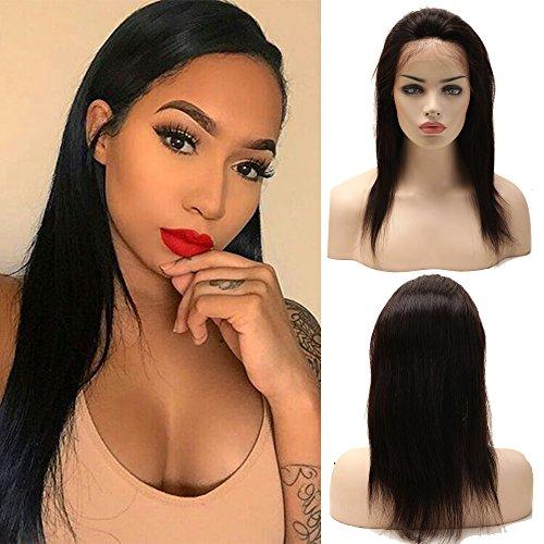 Perruque Femme Vrai Cheveux 100% Cheveux Humains Naturels Bresiliens Remy Raide - Lace Front Frontal Wig Naturel Human Hair (Densité: 130%, Longueur: 12\\