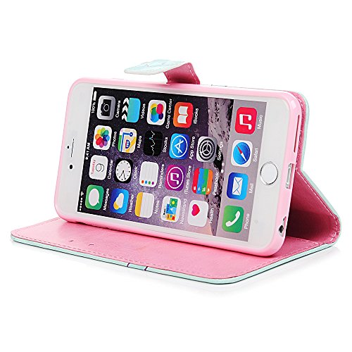 YOKIRIN Coque Pour iPhone 6 Plus / iPhone 6S Plus Phone Case cuir PU 3D Couverture Complète Léger Support Portefeuille Carte Slots Dessin Coloré Papillion d'Impression Fermeture Magnétique + 1 x Bouch Licorne