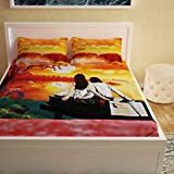 Story@Home 152 TC 100 % Cotton 1 PC 3D Double Bedsheet with 2 Pillow Covers, Orange