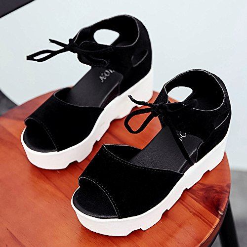 Lgk & fa estate sandali la pendenza con spessa suola sandali da donna estate Student all-match toe scarpe Black