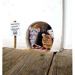 'no cats!' Lustige Mäuse, Maus Loch Wandaufkleber, keine Katzen wandsticker