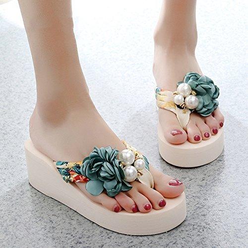 MuMa Infradito e ciabatte da spiaggia I nuovi sandali Femminile Estate Moda Abbigliamento esterno Fondo spesso Pantofole da spiaggia con tacco alto Mare Fiori antiscivolo Sandali dolci