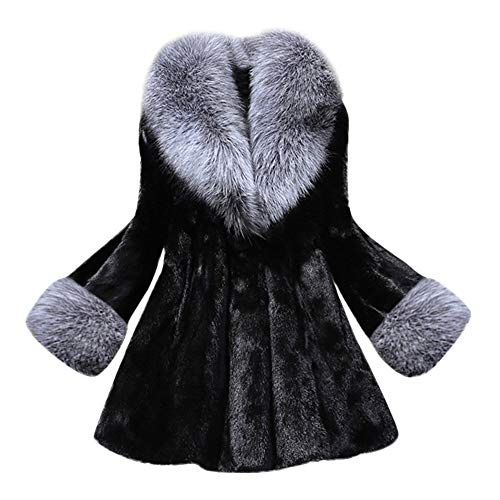 TianWlio Jacken Parka Mäntel Herbst Winter Warme Jacken Strickjacken Damen Mäntel Langer Abschnitt Nachahmung Nerzfuchsmantel Mit Mütze Pelzmantel 3XL