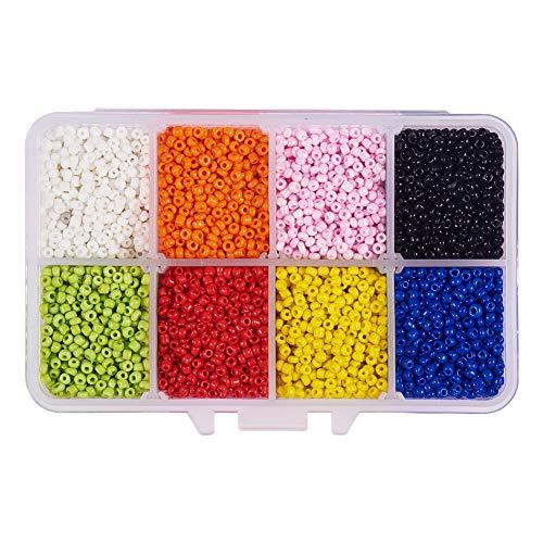 PandaHall Elite 11200pcs / Box 2mm Glas Rocailles mit 1mm Loch, Rondelle Opaque Farben Tiny Perlen für Armband Halskette Schmuck DIY Handwerk Machen, 8 Mischfarben