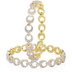 Jewels Galaxy White Gold-Plated American Diamond Bangle Set For Women