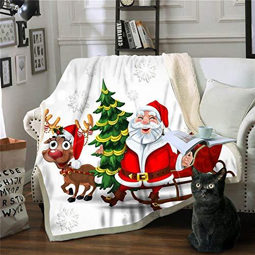 Nayayar Quadratische Decke, 3D-gedruckte Santa-Zeichenserie, Mehrzweckdecke aus Baumwollsamt,4,150x130cm (Baumwollsamt Gedruckt)