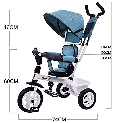 GSDZSY - Kids Tricycle Baby Carriage 3 Wheel Bike 4 In1,with Removable Push Handle Bar,Built-in Steering Link, Rubber Wheel,Soft And Comfortable Seat Can Be Rotated,1-6 Years,B  GSDZSY