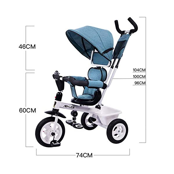 GSDZSY - Kids Tricycle Baby Carriage 3 Wheel Bike 4 In1,with Removable Push Handle Bar,Built-in Steering Link, Rubber Wheel,Soft And Comfortable Seat Can Be Rotated,1-6 Years,B GSDZSY  2
