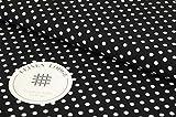 Leinen Lodge Webware Baumwolle Polka Dots Punkte SCHWARZ