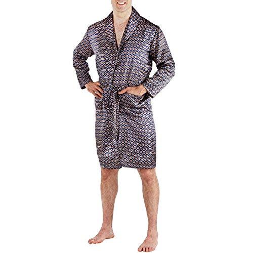 Aderezo de raso vestido de los hombres de ropas kimono sedoso Wrap XL -Navy
