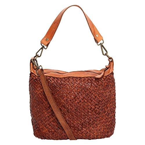 Damen Tasche Beutel, Schultertasche Vintage Used Look M2117 geflochten ,gewaschenes Leder , Italy handgefertigt Karamell
