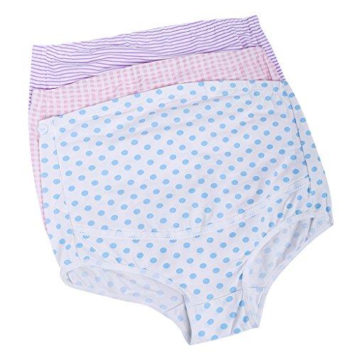 3x Mutterschaft Schwangerschafts slip Umstandsslip Umstandsunterwäsche Baumwolle - Style 1, XL