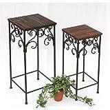 Support roulettes pour plante cuba 12590 78 cm patine table d 39 appoint cuisine maison - Support a roulettes pour plantes ...