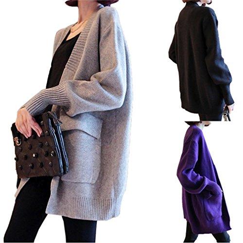 Bigood Pull Cardigan Manteau Slim Veste Tricot Femme Manches Longue Avec Poche Lâche Elastique Noir
