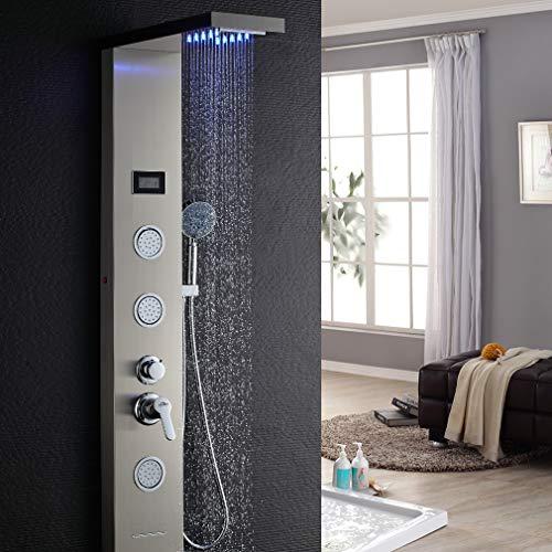 Auralum colonna doccia idromassaggio con luci led pannello doccia set in 304 acciaio inox con miscelatore 5 funzioni per bagno