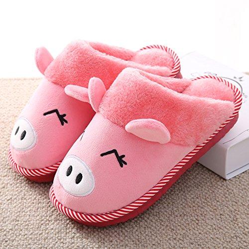 DogHaccd pantofole,Cartoon carino di grandi dimensioni pantofole di cotone di donne tutto il pacchetto con l'inverno piscina calda felpa home caldo cotone scarpe Anguria rosso