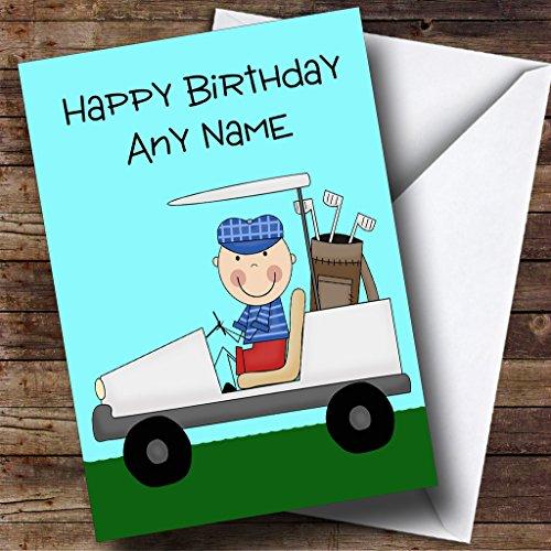 Golfer In Golf Cart Personalised Birthday Card