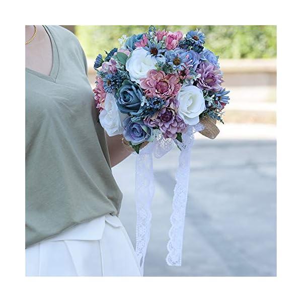 Ramo de novia Azul / blanco / rosa Rosa Novia Boda Mano Ramo Dama de honor con flores artificiales, Casa solariega, Sol…