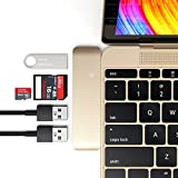 SATECHI Aluminium Type-C USB 3.0 3-in-1 Combo Hub Adapter - 3 USB 3.0 Ports and Micro/SD Card Reader kompatibel mit 2015/2016/2017/2018 MacBook 12-Inch und andere (Gold)