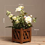 Dreamingces Fiori artificiali vasca in legno vaso in plastica rosa di emulazione Bianco impianto Creative Home Decor Wedding la Festa della mamma regalo