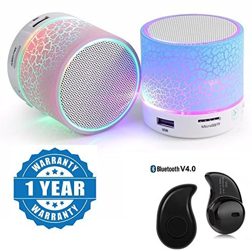 Padraig LED Smart Lighting Portable Bluetooth Wireless Speakers With Free Mini Bluetooth Headset
