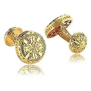 ANAZOZ Schmuck Edelstahl Herren Manschettenknöpfe Retro Keltisch Kreuz Hemd Gold, Manschetten Knöpfe für Männer