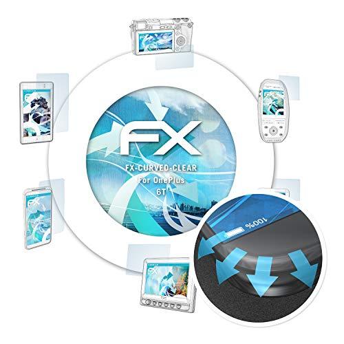 atFoliX Película Protectora para OnePlus 6T Protector Película - 3 x FX-Curved-Clear Flexibles Lámina Protectora de Pantalla para Pantallas convexas
