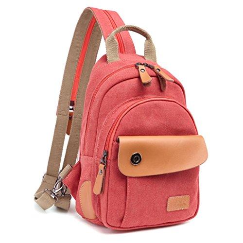 F@Uomini e donne sacchetto della cassa zaino tracolla, multi-funzione di spalla borsa di tela Messenger coppia maschio e femmina piccola sezione , light green Orange