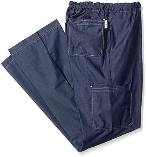 KOI Men's Big and Tall Dylan Yarn-Dye Scrub Pants With Zip Fly and Drawstring Waist, Navy, 2X (Herren Scrubs Tall)