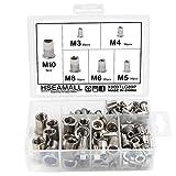 HSeaMall 165 UNIDS remache rosca de acero inoxidable herramienta plana remache roscado Nutsert Cap Surtido kit M3 M4 M5 M6 M8 tipos M10 (6 Types 165PC