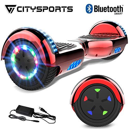 """CITYSPORTS 6.5\"""" Elektro Skateboard Board mit Bluetooth Hover Lautsprecher LED-Leuchten für Kinder und Erwachsene (Red)"""