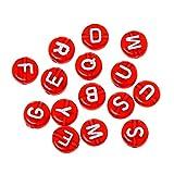 Sadingo Buchstabenperlen Rot mit weißem Aufdruck - 100 Stück - 7mm - rund, flach - Armband selber Machen, DIY Schmuck