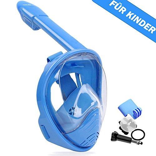 OCEVEN Vollmaske Schnorchelmaske Tauchmaske Vollgesichtsmaske mit 180° Sichtfeld, Dichtung aus Silikon Anti-Fog und Anti-Leck Technologie für Alle Erwachsene und Kinder (XS für Kinder, Blau)