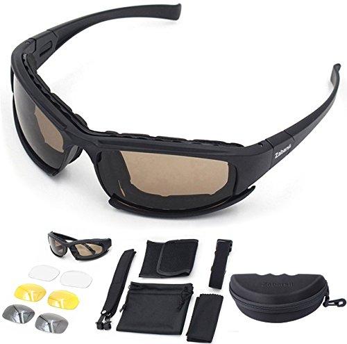 Moto occhiali da sole ciclismo polarizzati schiuma imbottit anti-uv4 lenti intercambiabili tattico per ciclismo, sciare,camping, guida, pesca, corsa, golf, attività all'aperto